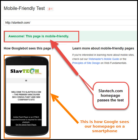 Slavtech.com Passes Mobile-Friendly Test