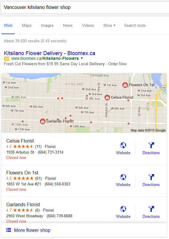 A New Google 3-Pack Local Listing Example