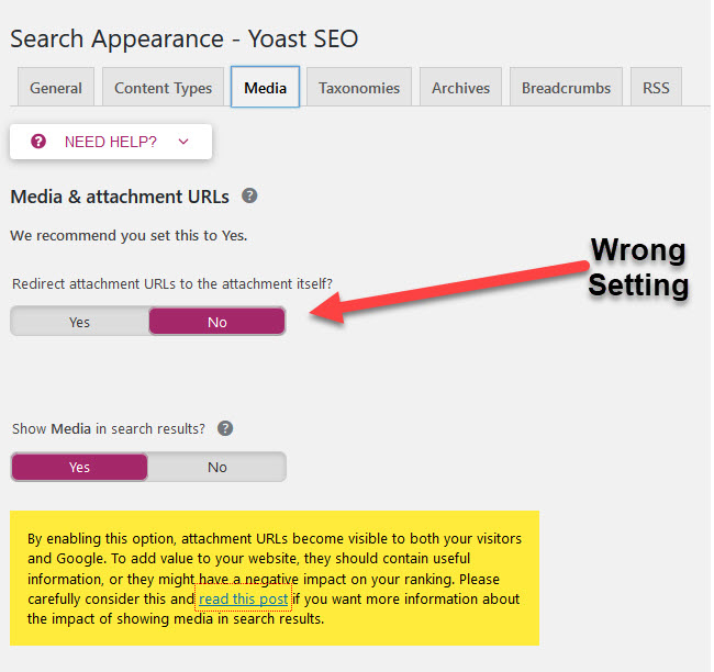 Wrong Yoast SEO Setting
